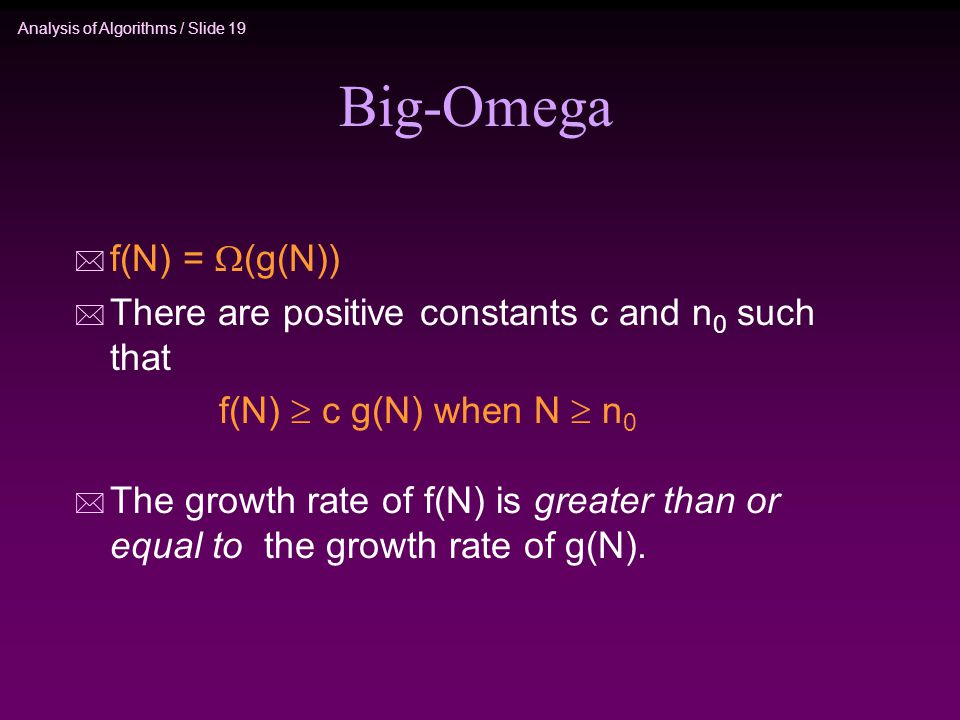 Analysis of Algorithms / Slide 19 Big-Omega * f(N) =  (g(N)) * There are positive constants c and n 0 such that f(N)  c g(N) when N  n 0 * The growth rate of f(N) is greater than or equal to the growth rate of g(N).
