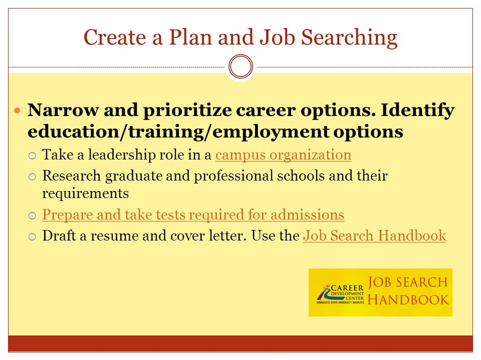 Create a Plan and Job Searching Narrow and prioritize career options.