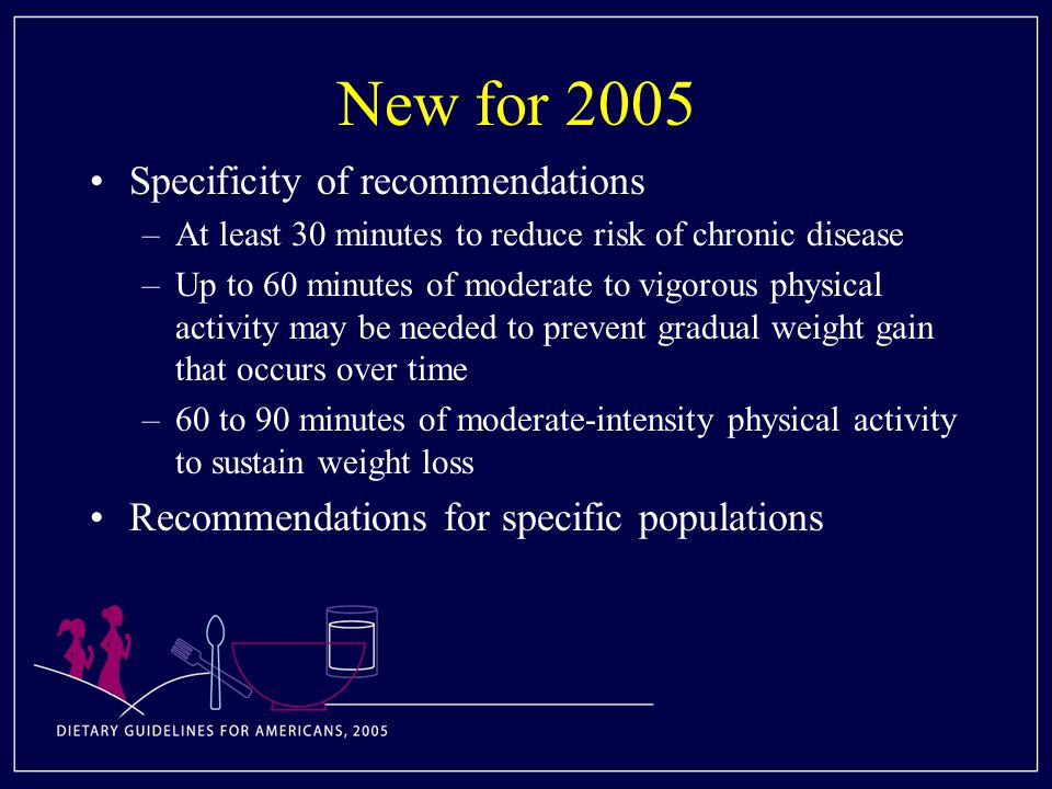New for 2005 Specificity of recommendations –At least 30 minutes to reduce risk of chronic disease –Up to 60 minutes of moderate to vigorous physical activity may be needed to prevent gradual weight gain that occurs over time –60 to 90 minutes of moderate-intensity physical activity to sustain weight loss Recommendations for specific populations
