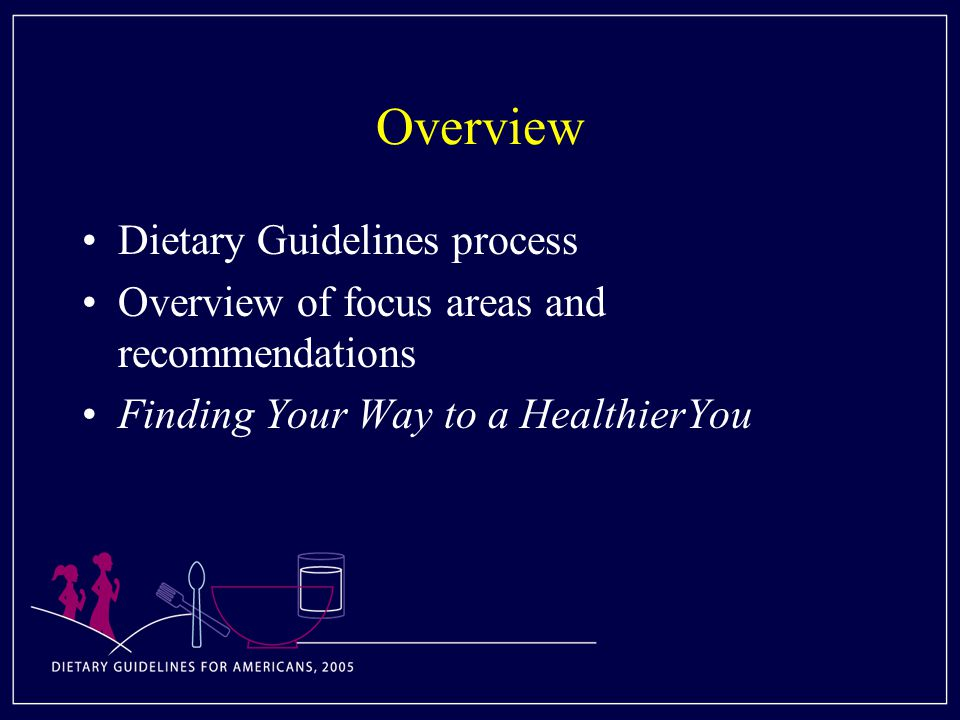 Overview Dietary Guidelines process Overview of focus areas and recommendations Finding Your Way to a HealthierYou