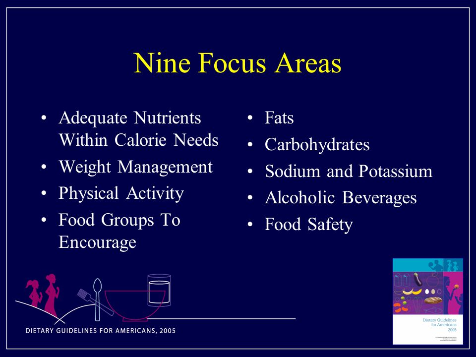 Nine Focus Areas Adequate Nutrients Within Calorie Needs Weight Management Physical Activity Food Groups To Encourage Fats Carbohydrates Sodium and Potassium Alcoholic Beverages Food Safety