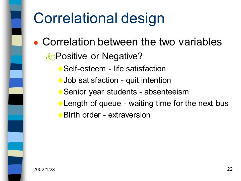2002/1/28 22 Correlational design l Correlation between the two variables k Positive or Negative.