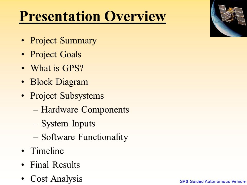 GPS-Guided Autonomous Vehicle  - ppt download