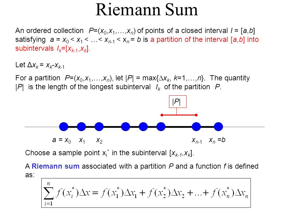 Riemann Sum An ordered collection P=(x 0,x 1,…,x n ) of points of a closed interval I = [a,b] satisfying a = x 0 < x 1 < …< x n-1 < x n = b is a partition of the interval [a,b] into subintervals I k =[x k-1,x k ].