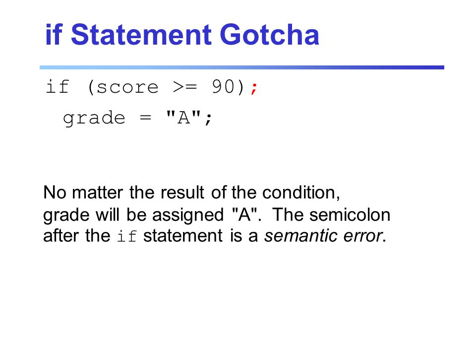 if Statement Gotcha if (score >= 90); grade = A ; No matter the result of the condition, grade will be assigned A .