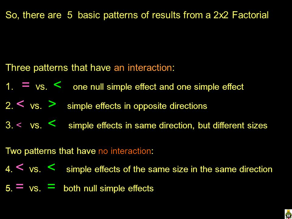 So, there are 5 basic patterns of results from a 2x2 Factorial Three patterns that have an interaction: 1.