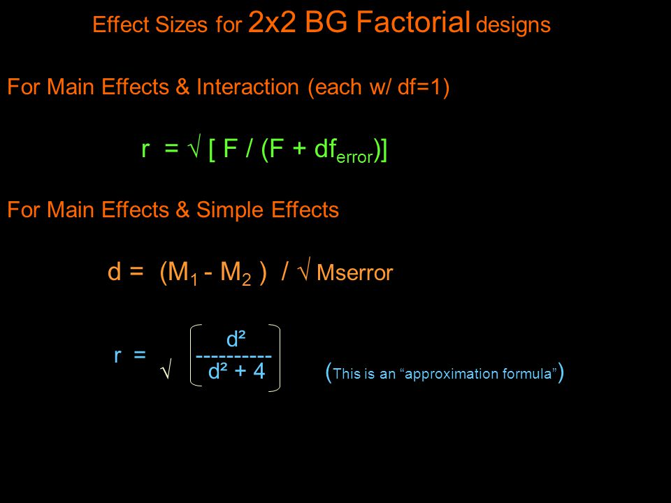 Effect Sizes for 2x2 BG Factorial designs For Main Effects & Interaction (each w/ df=1) r =  [ F / (F + df error )] For Main Effects & Simple Effects d = (M 1 - M 2 ) /  Mserror d² r =  d² + 4 ( This is an approximation formula )