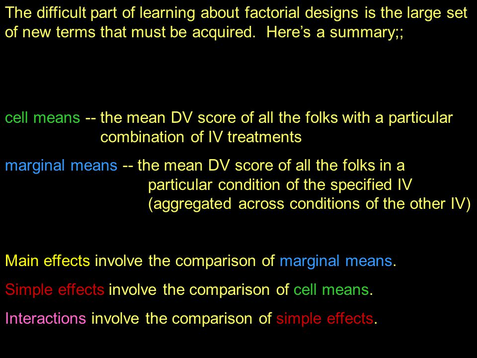The difficult part of learning about factorial designs is the large set of new terms that must be acquired.