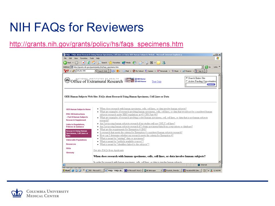 NIH FAQs for Reviewers