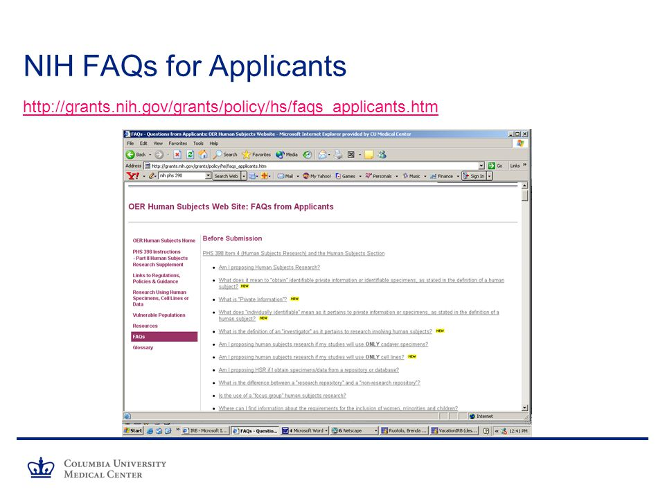 NIH FAQs for Applicants