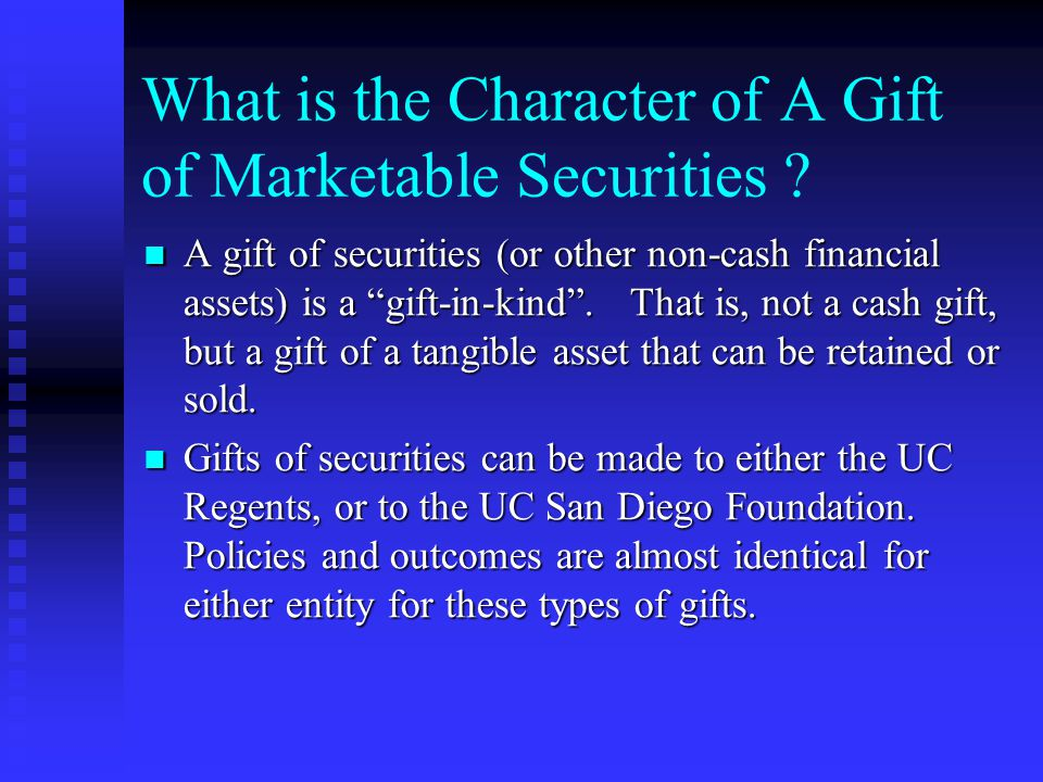 Gifts Of Marketable Securities And Other Financial Assets Ppt