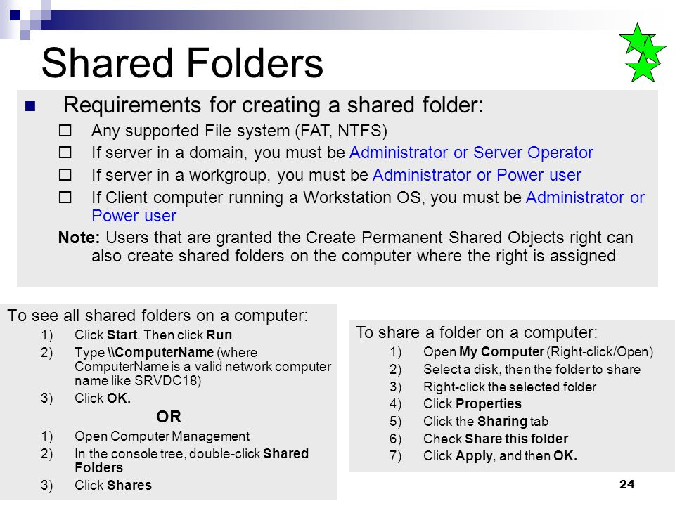 24 Shared Folders To see all shared folders on a computer: 1)Click Start.