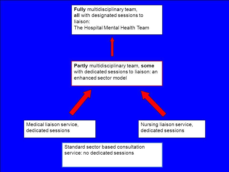 Fully multidisciplinary team, all with designated sessions to liaison: The Hospital Mental Health Team Partly multidisciplinary team, some with dedicated sessions to liaison: an enhanced sector model Nursing liaison service, dedicated sessions Medical liaison service, dedicated sessions Standard sector based consultation service: no dedicated sessions