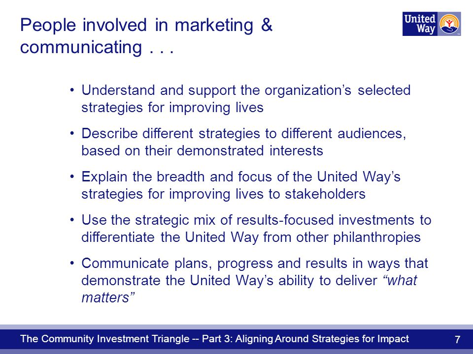 The Community Investment Triangle -- Part 3: Aligning Around Strategies for Impact 7 People involved in marketing & communicating...