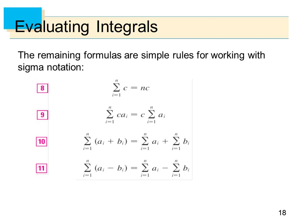 18 Evaluating Integrals The remaining formulas are simple rules for working with sigma notation: