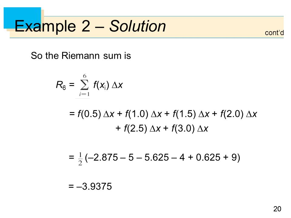 20 Example 2 – Solution So the Riemann sum is R 6 = f (x i )  x = f (0.5)  x + f (1.0)  x + f (1.5)  x + f (2.0)  x + f (2.5)  x + f (3.0)  x = (–2.875 – 5 – – ) = – cont'd