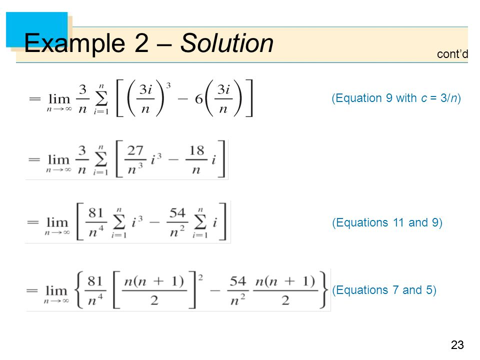 23 Example 2 – Solution (Equation 9 with c = 3/n) (Equations 11 and 9) (Equations 7 and 5) cont'd