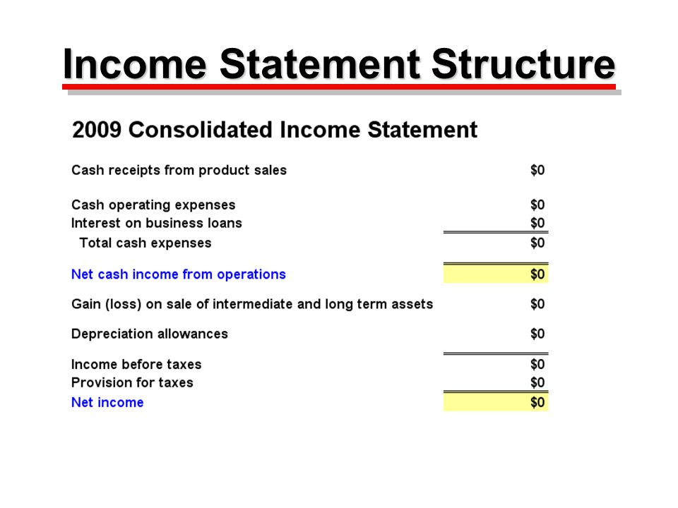 Basic Structure of Income Statement Cash receipts from product sales Minus Operating and interest expenses Equals Net cash income from operations Plus Gain (loss) on sale of long term assets Plus Cash subsidies received Less Depreciation allowances Equals Income (loss) before taxes Minus Provision for income taxes Equals Net income Cash receipts from product sales Minus Operating and interest expenses Equals Net cash income from operations Plus Gain (loss) on sale of long term assets Plus Cash subsidies received Less Depreciation allowances Equals Income (loss) before taxes Minus Provision for income taxes Equals Net income Page 4 in booklet
