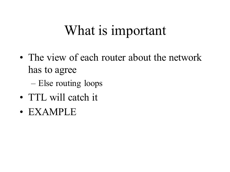 What is important The view of each router about the network has to agree –Else routing loops TTL will catch it EXAMPLE