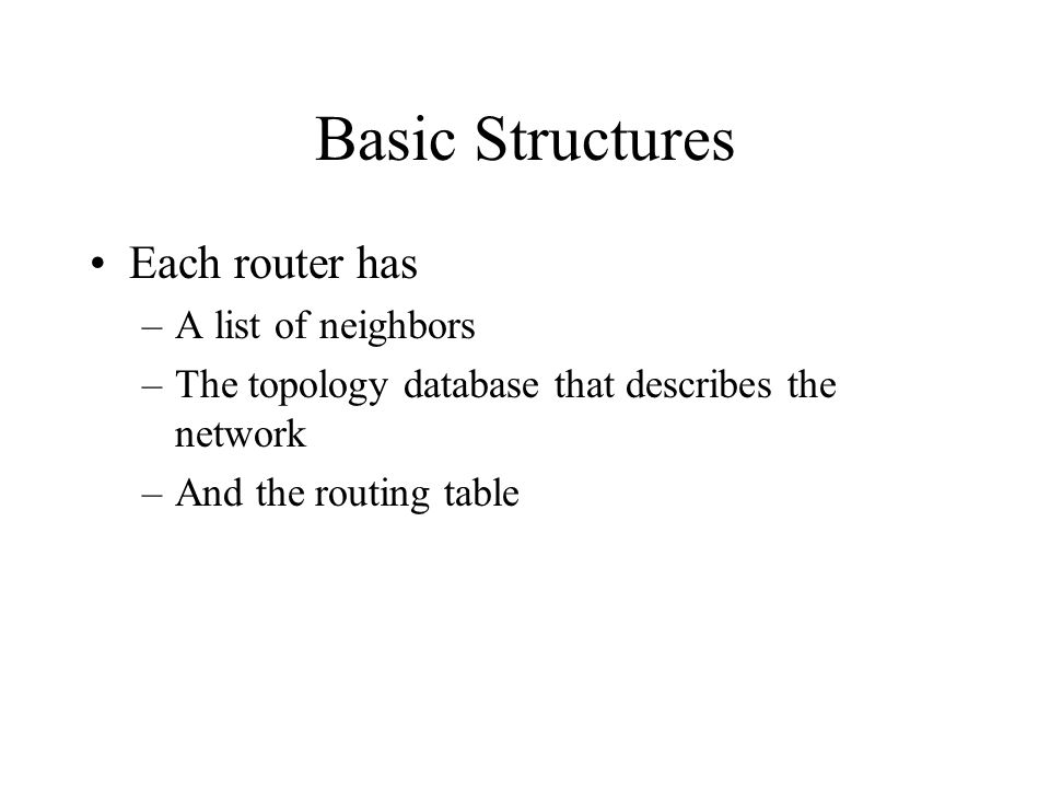 Basic Structures Each router has –A list of neighbors –The topology database that describes the network –And the routing table