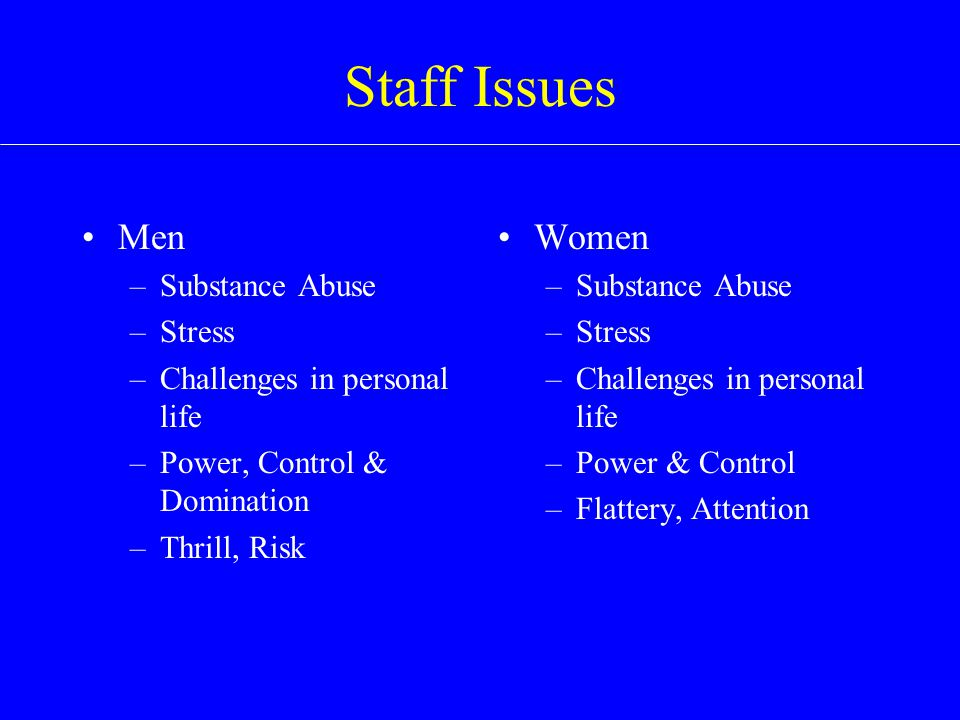 Staff Issues Men –Substance Abuse –Stress –Challenges in personal life –Power, Control & Domination –Thrill, Risk Women –Substance Abuse –Stress –Challenges in personal life –Power & Control –Flattery, Attention