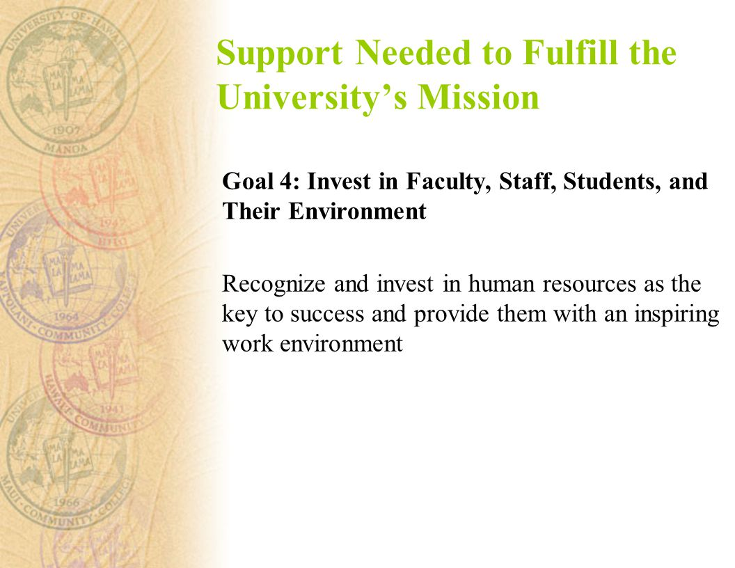 Support Needed to Fulfill the University's Mission Goal 4: Invest in Faculty, Staff, Students, and Their Environment Recognize and invest in human resources as the key to success and provide them with an inspiring work environment
