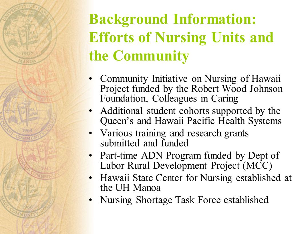 Background Information: Efforts of Nursing Units and the Community Community Initiative on Nursing of Hawaii Project funded by the Robert Wood Johnson Foundation, Colleagues in Caring Additional student cohorts supported by the Queen's and Hawaii Pacific Health Systems Various training and research grants submitted and funded Part-time ADN Program funded by Dept of Labor Rural Development Project (MCC) Hawaii State Center for Nursing established at the UH Manoa Nursing Shortage Task Force established