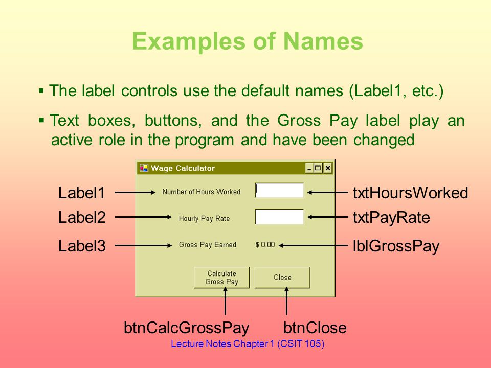 Examples of Names btnCalcGrossPaybtnClose txtHoursWorked txtPayRate lblGrossPay Label1 Label2 Label3  The label controls use the default names (Label1, etc.)  Text boxes, buttons, and the Gross Pay label play an active role in the program and have been changed Lecture Notes Chapter 1 (CSIT 105)