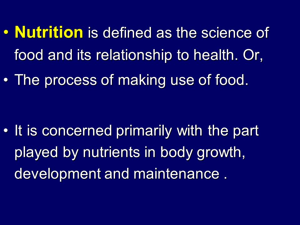 objectives to define nutrition and related words to define