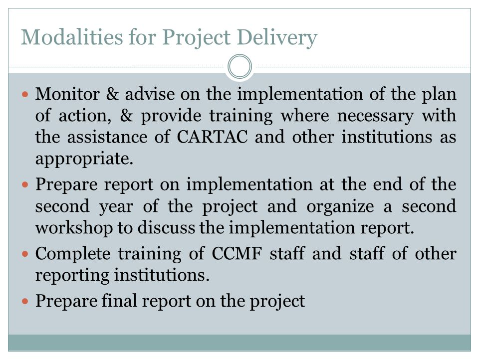 Modalities for Project Delivery Monitor & advise on the implementation of the plan of action, & provide training where necessary with the assistance of CARTAC and other institutions as appropriate.