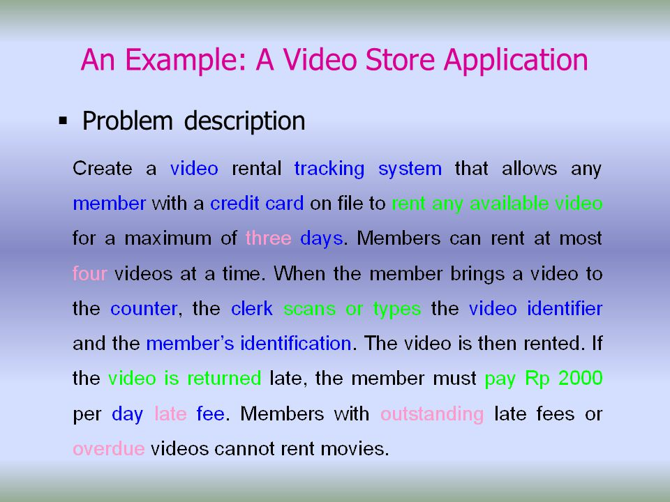 An Example: A Video Store Application  Problem description