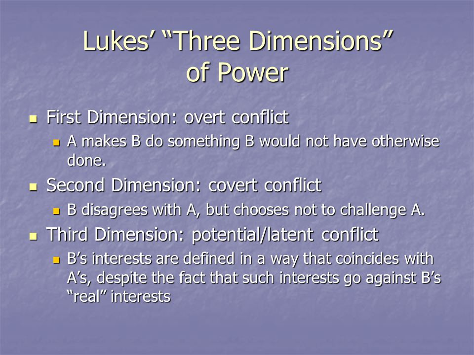 the third dimension of power