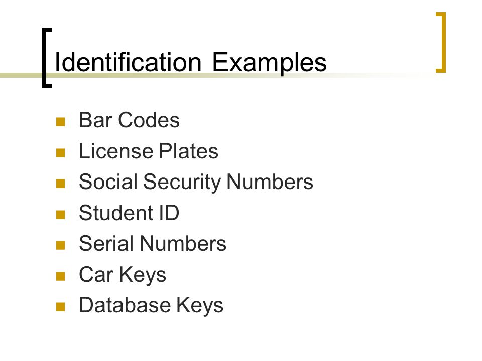 Identification Examples Bar Codes License Plates Social Security Numbers Student ID Serial Numbers Car Keys Database Keys