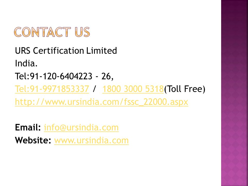 URS Certification Limited India.