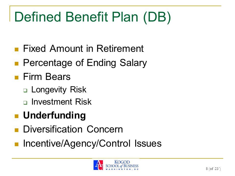 Defined Benefit Plan (DB) Fixed Amount in Retirement Percentage of Ending Salary Firm Bears  Longevity Risk  Investment Risk Underfunding Diversification Concern Incentive/Agency/Control Issues 8 (of 23`)