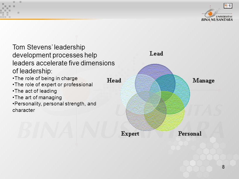 8 Tom Stevens' leadership development processes help leaders accelerate five dimensions of leadership : The role of being in charge The role of expert or professional The act of leading The art of managing Personality, personal strength, and character