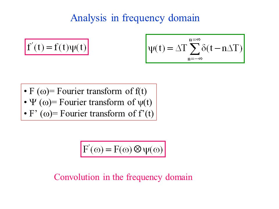 Analysis in frequency domain F  (  )= Fourier transform of f(t)  (  )= Fourier transform of  (t) F'  (  )= Fourier transform of f'(t) Convolution in the frequency domain