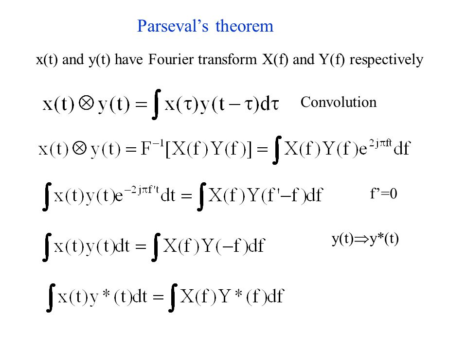 Parseval's theorem x(t) and y(t) have Fourier transform X(f) and Y(f) respectively Convolution f'=0 y(t)  y*(t)