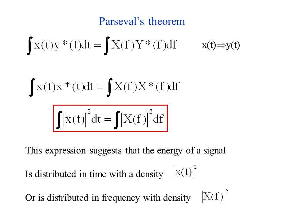 Parseval's theorem x(t)  y(t) This expression suggests that the energy of a signal Is distributed in time with a density Or is distributed in frequency with density