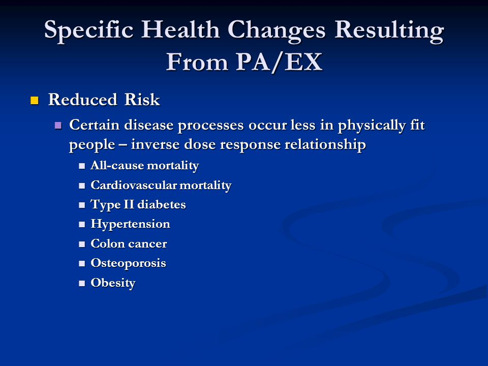 Specific Health Changes Resulting From PA/EX Reduced Risk Reduced Risk Certain disease processes occur less in physically fit people – inverse dose response relationship Certain disease processes occur less in physically fit people – inverse dose response relationship All-cause mortality All-cause mortality Cardiovascular mortality Cardiovascular mortality Type II diabetes Type II diabetes Hypertension Hypertension Colon cancer Colon cancer Osteoporosis Osteoporosis Obesity Obesity