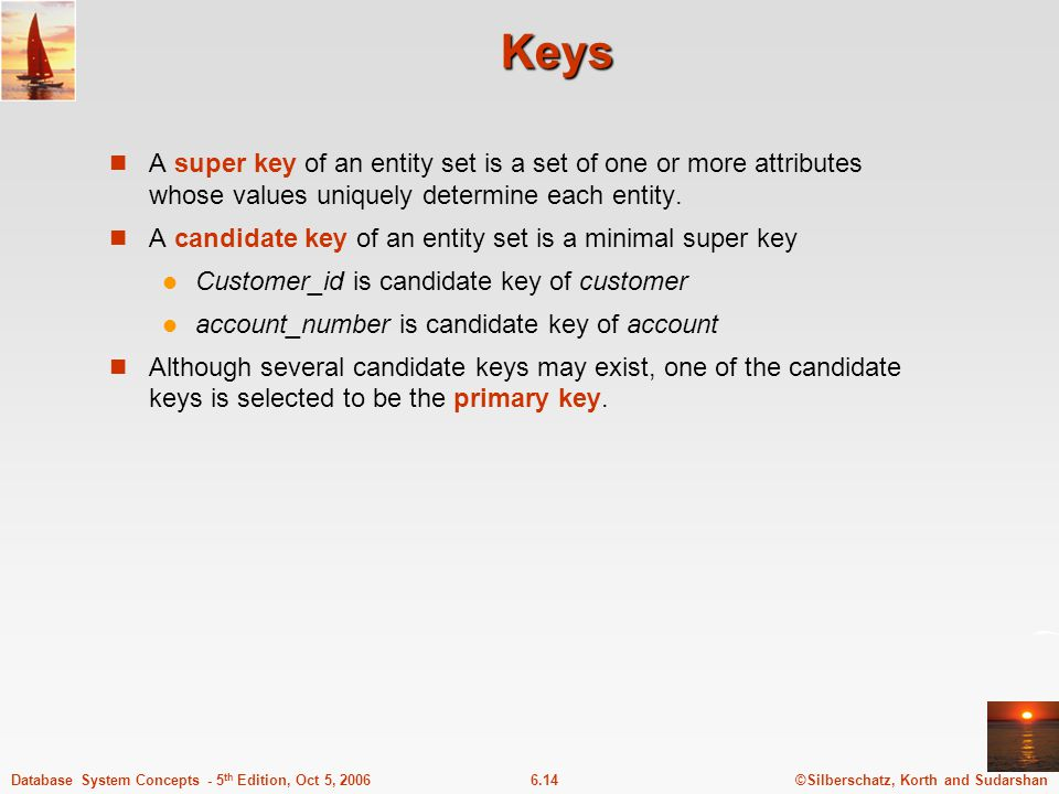 ©Silberschatz, Korth and Sudarshan6.14Database System Concepts - 5 th Edition, Oct 5, 2006 Keys A super key of an entity set is a set of one or more attributes whose values uniquely determine each entity.