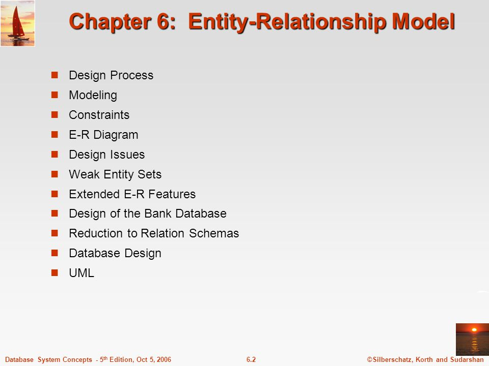 ©Silberschatz, Korth and Sudarshan6.2Database System Concepts - 5 th Edition, Oct 5, 2006 Chapter 6: Entity-Relationship Model Design Process Modeling Constraints E-R Diagram Design Issues Weak Entity Sets Extended E-R Features Design of the Bank Database Reduction to Relation Schemas Database Design UML