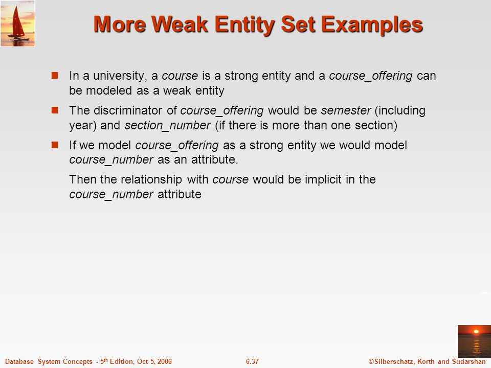 ©Silberschatz, Korth and Sudarshan6.37Database System Concepts - 5 th Edition, Oct 5, 2006 More Weak Entity Set Examples In a university, a course is a strong entity and a course_offering can be modeled as a weak entity The discriminator of course_offering would be semester (including year) and section_number (if there is more than one section) If we model course_offering as a strong entity we would model course_number as an attribute.