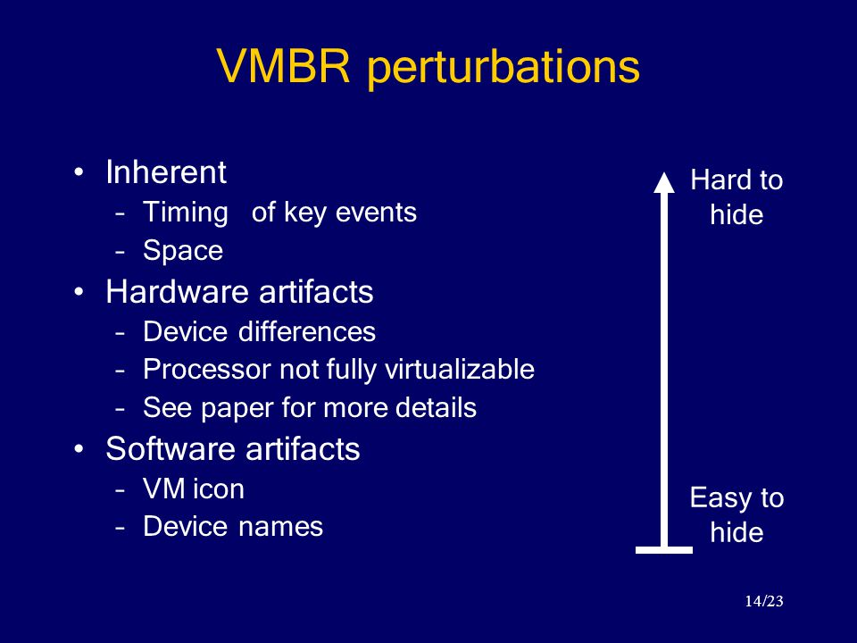 14/23 VMBR perturbations Inherent –Timing of key events –Space Hardware artifacts –Device differences –Processor not fully virtualizable –See paper for more details Software artifacts –VM icon –Device names Easy to hide Hard to hide
