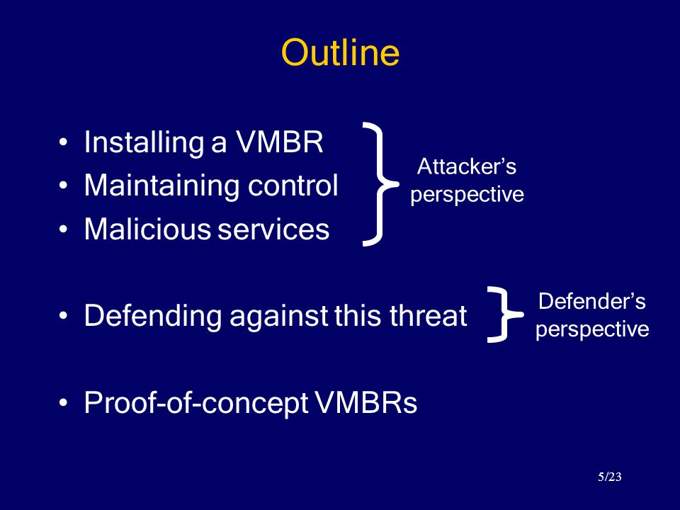 5/23 Outline Installing a VMBR Maintaining control Malicious services Defending against this threat Proof-of-concept VMBRs Attacker's perspective Defender's perspective