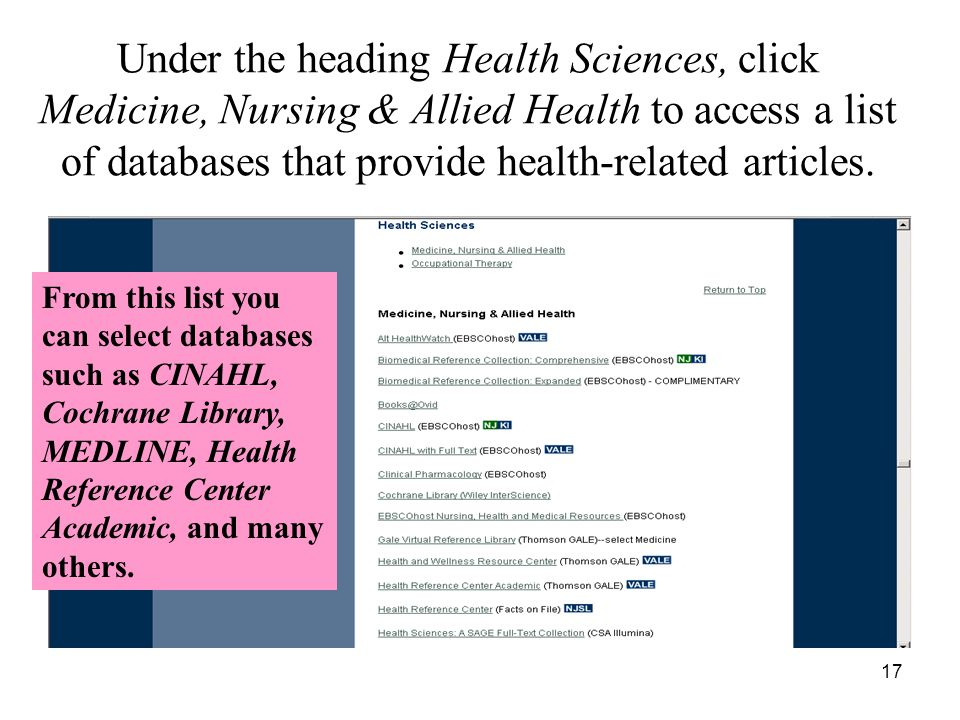 17 Under the heading Health Sciences, click Medicine, Nursing & Allied Health to access a list of databases that provide health-related articles.