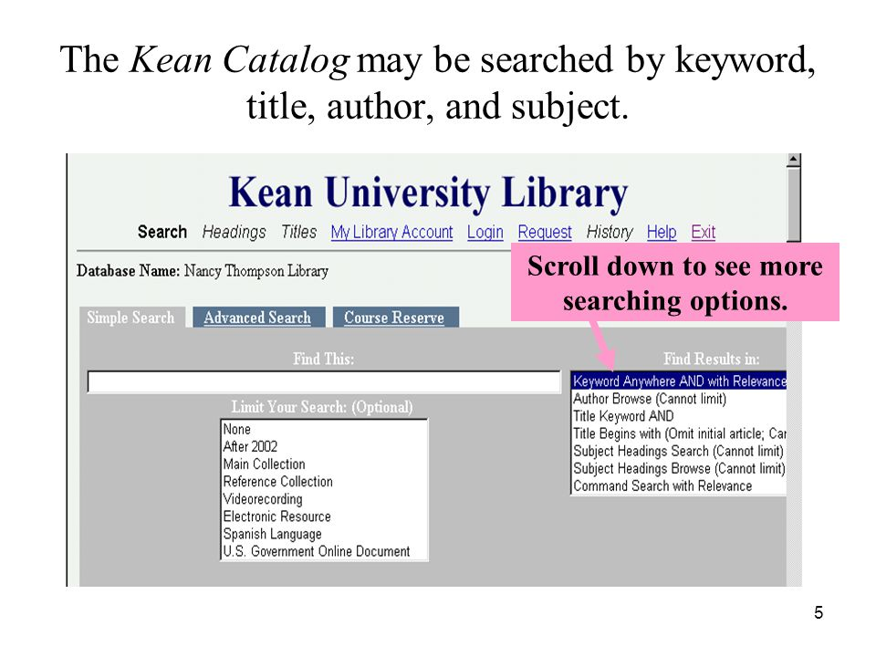 5 The Kean Catalog may be searched by keyword, title, author, and subject.