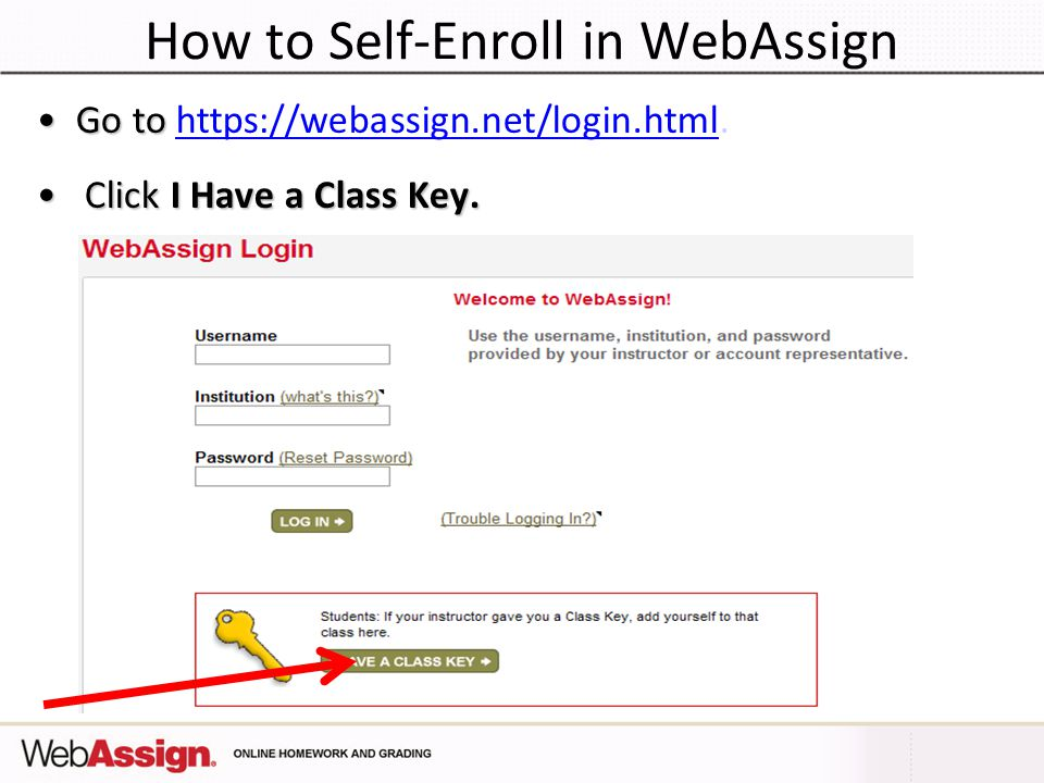 Welcome To WebAssign 1 St Day Of Class How To Self Enroll