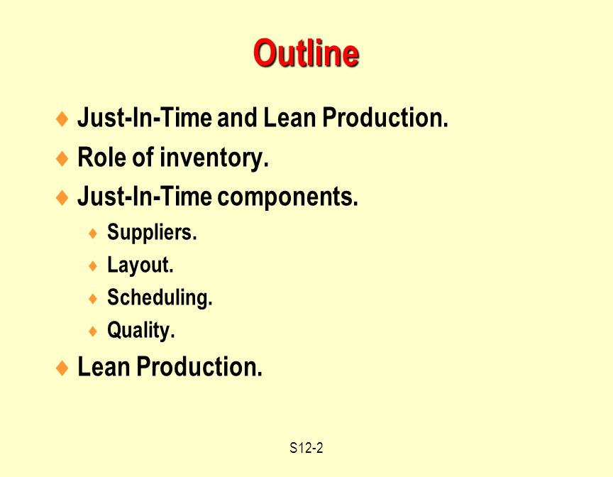 S12-2  Just-In-Time and Lean Production.  Role of inventory.