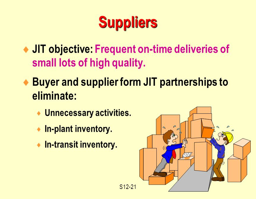 S12-21  JIT objective: Frequent on-time deliveries of small lots of high quality.